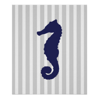Navy and Grey Striped Nautical Seahorse Poster