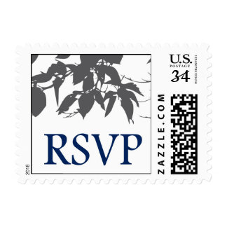 Navy and Grey tree rsvp Postage Stamp