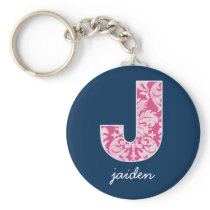 Navy and Hot Pink Damask Pattern Monogram Letter J Keychain