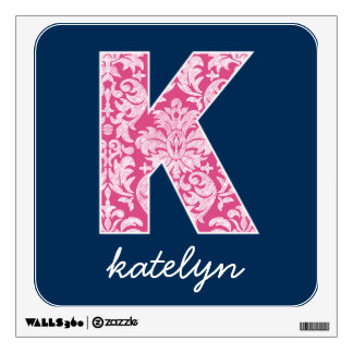 Navy and Hot Pink Damask Pattern Monogram Letter K Wall Sticker