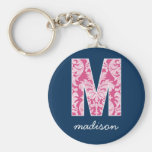Navy and Hot Pink Damask Pattern Monogram Letter M Basic Round Button Keychain