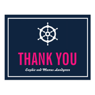 Navy and Hot Pink Nautical Helm Thank You Postcard