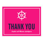 Navy and Hot Pink Nautical Thank You Postcard