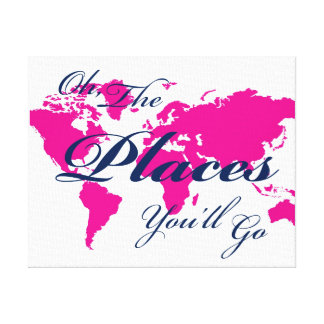 Navy and Hot Pink World Map Places You'll Go Art Stretched Canvas Prints