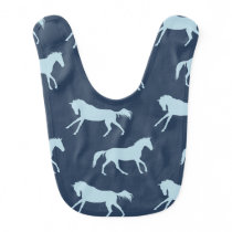 Navy and Hunter Galloping Horses Pattern Baby Bib