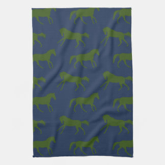Navy and Hunter Galloping Horses Pattern Kitchen Towels