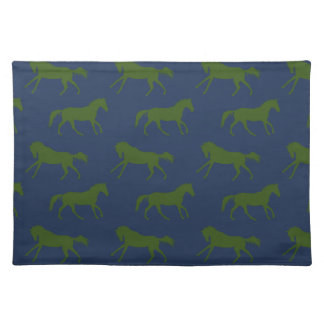 Navy and Hunter Galloping Horses Pattern Placemat