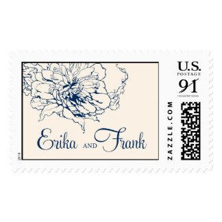 Navy and Ivory Erika and Frank monogram Postage