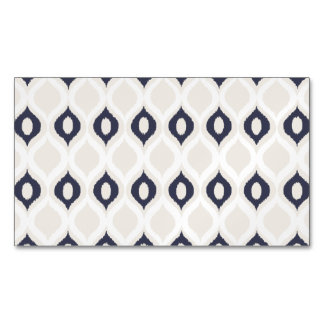 Navy And Ivory Geometric Ikat Tribal Print Pattern Business Card Magnet
