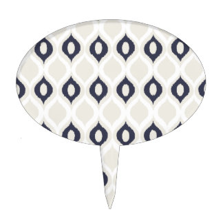 Navy And Ivory Geometric Ikat Tribal Print Pattern Cake Topper