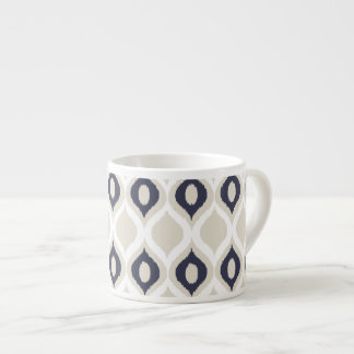 Navy And Ivory Geometric Ikat Tribal Print Pattern Espresso Cup