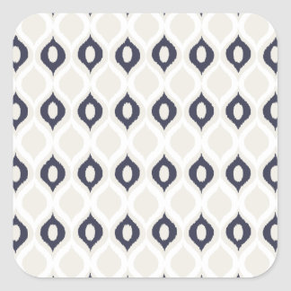 Navy And Ivory Geometric Ikat Tribal Print Pattern Square Sticker