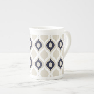Navy And Ivory Geometric Ikat Tribal Print Pattern Tea Cup