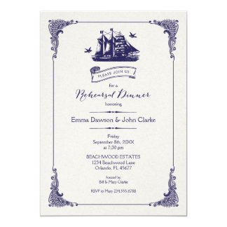 Navy and Ivory Vintage Ship Rehearsal Dinner Card