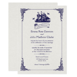 Navy and Ivory Vintage Ship Wedding Invitation