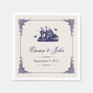 Navy and Ivory Vintage Ship Wedding Monogram Standard Cocktail Napkin