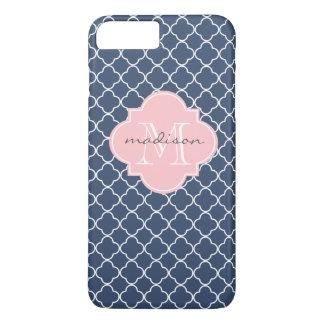 Navy and Light Pink Quatrefoil Custom Monogram iPhone 7 Plus Case