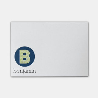 Navy and Lime Chevron Pattern Monogram Letter B Post-it® Notes