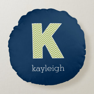 Navy and Lime Chevron Pattern Monogram Letter K Round Pillow
