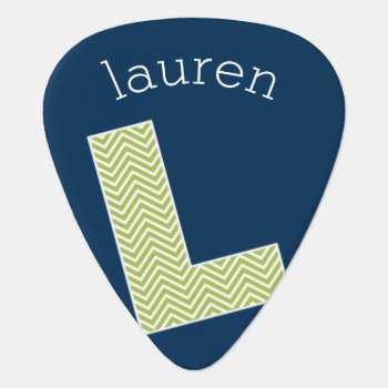 Navy And Lime Chevron Pattern Monogram Letter L Guitar Pick by MyGiftShop at Zazzle