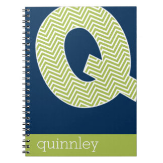 Navy and Lime Chevron Pattern Monogram Letter Q Spiral Note Book