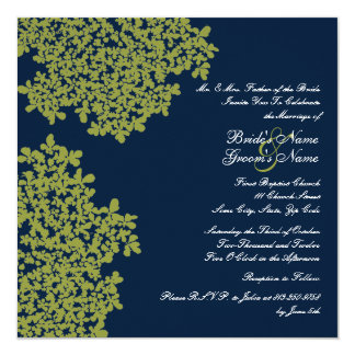 Navy and Lime Floral Square Wedding Card