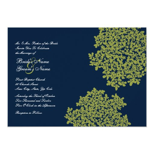 Navy and Lime Floral Wedding Invitations