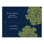Navy and Lime Floral Wedding RSVP 4.25x5.5 Paper Invitation Card
