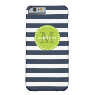 Navy and Lime Green Preppy Stripes Custom Monogram Barely There iPhone 6 Case