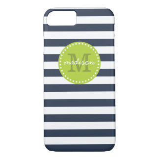 Navy and Lime Green Preppy Stripes Custom Monogram iPhone 7 Case