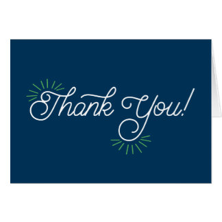 Navy and Lime Green Thank You Notecard