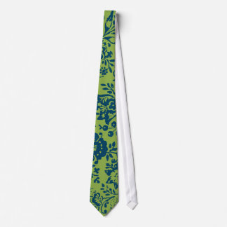 Navy and lime Vintage Paisley Floral Wedding Tie