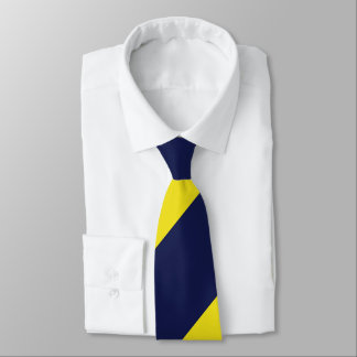 Navy and Maize Broad Regimental Stripe Neck Tie