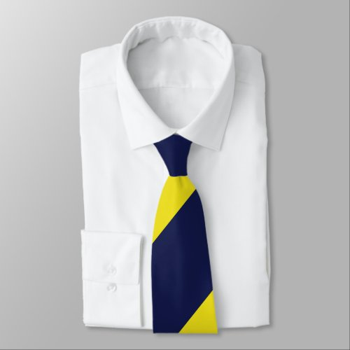 Navy and Maize Broad Regimental Stripe Neck Tie