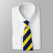 Navy and Maize Diagonally-Striped Tie