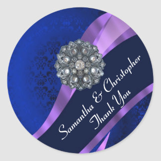 Navy and mauve damask wedding seal classic round sticker