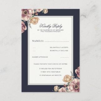 Navy and Mauve Floral Elegant Vintage Wedding RSVP