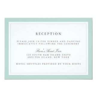 Navy and Mint Border Wedding Reception Card