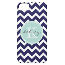 Navy and Mint Chevron Custom Monogram iPhone 5 Case