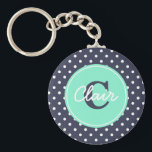 "Navy and Mint Dots, Initial, and Name Keychain<br><div class=""desc"">There is no cuter key chain than a polka dot keychain with your initial and name!</div>"