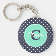 Navy And Mint Dots, Initial, And Name Keychain at Zazzle