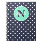 Navy and Mint Dots, Initial, and Name Spiral Notebooks