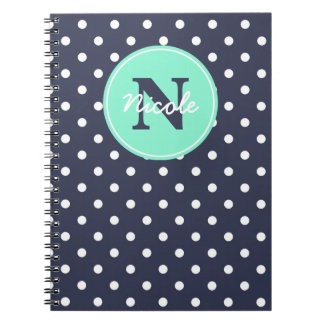 Navy and Mint Dots, Initial, and Name Notebook