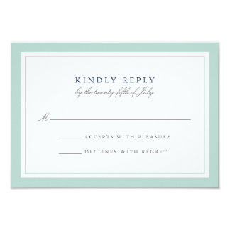 Navy and Mint Simple Border Wedding RSVP Card