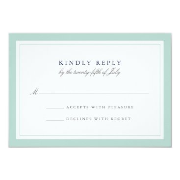 Beach Themed Navy and Mint Simple Border Wedding RSVP Card