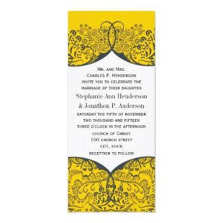 Navy and Mustard Love Bird Paisley Pattern Wedding Card