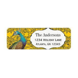 Navy and Mustard Peacock Love Bird Label
