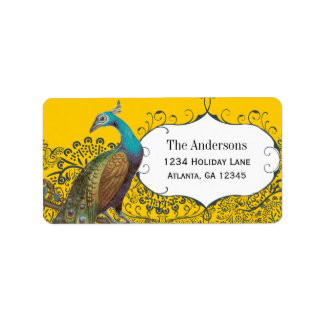 Navy and Mustard Peacock Love Bird Label Address Label