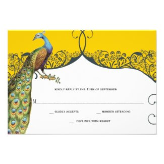 Navy and Mustard Peacock Love Bird Pattern Wedding