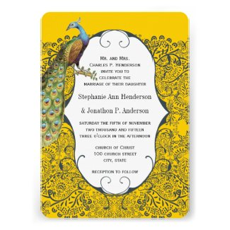 Navy and Mustard Peacock Love Bird Pattern Wedding Personalized Announcement
